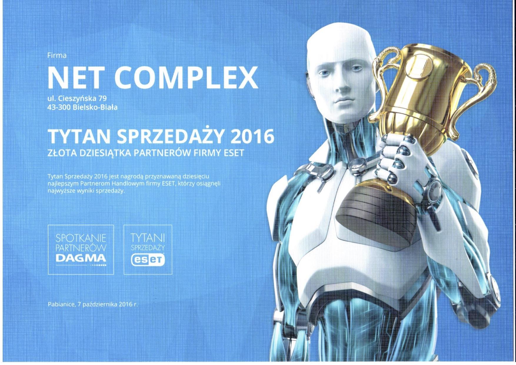 certyfikat Tytani Sprzedaży ESET Net Complex