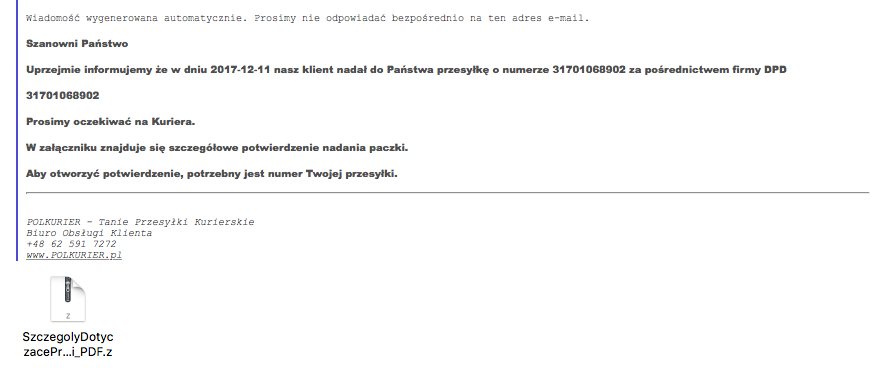 Fałszywe maile od polkurier-treść wiadomości