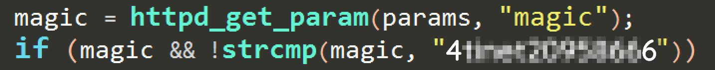 Parametr magic umożliwia pominięcie autoryzacji i dostep do haseł użytkowników Fortigate
