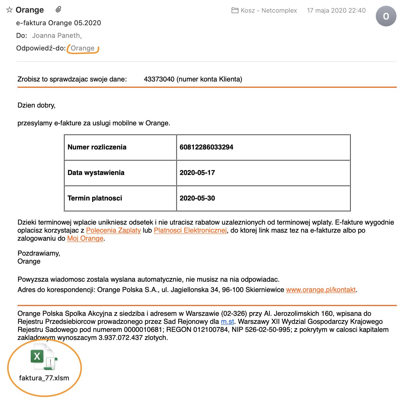 """fałszywe faktury - Sprawdź, zanim opłacisz! Uwaga nafałszywe e-faktury od""""Orange"""" - netcomplex"""