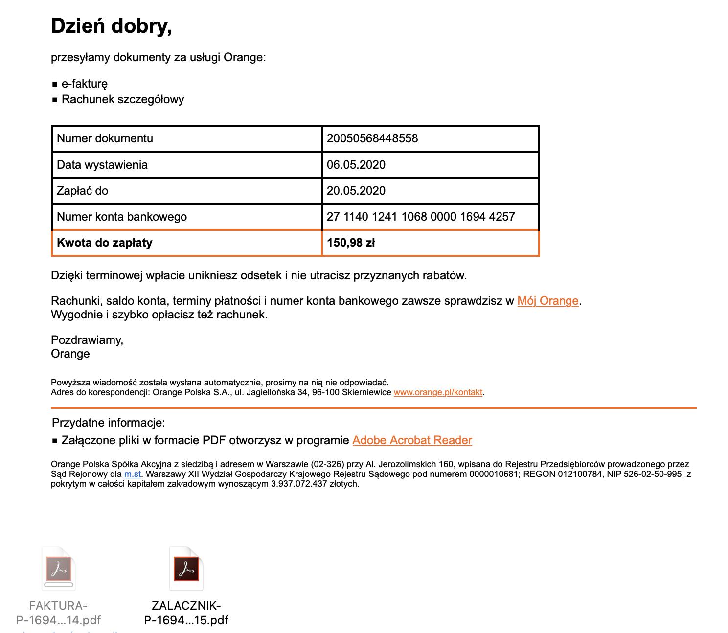 """fatura or - Sprawdź, zanim opłacisz! Uwaga nafałszywe e-faktury od""""Orange"""" - netcomplex"""