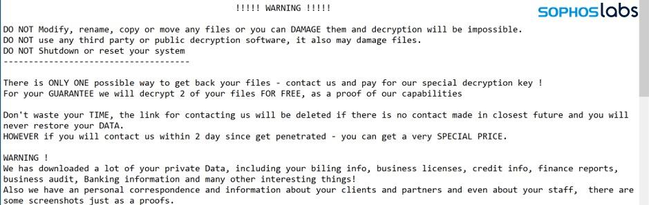 Ragnar Locker ransomware wiadomość